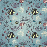 Vector Ornate Sea Seamless Pattern Stock Photography