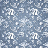 Vector Ornate Sea Seamless Pattern Royalty Free Stock Image