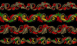 Vector ornate seamless borders set in Russian hohloma style Royalty Free Stock Photo
