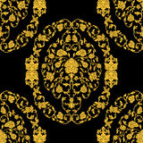 Vector ornate seamless pattern in Eastern style on black background. Ornamental vintage design for wedding invitations and greetin Stock Photos