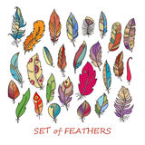 Vector Ornate Set of Stylized and Abstract Feathers. Royalty Free Stock Photos