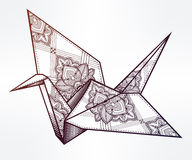 Vector ornate stylized paper crane. Royalty Free Stock Photography