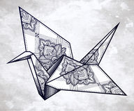 Vector ornate stylized paper crane. Stock Images