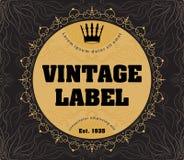 Vector ornate vintage label with crown for your design. vector illustration