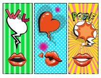Vector os bordos fêmeas do pop art, corações, bolhas do discurso com frases da forma Fotos de Stock Royalty Free