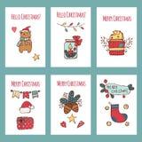 Vector os cartões e os convites do Feliz Natal isolados no fundo Grupo grande com a árvore bonito do xmas, Santa, presente ilustração do vetor