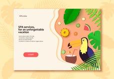 Vector os citrinos de plantas tropicais, bandeira do tucano no estilo trandy do corte do papel Design floral exótico para TERMAS, Imagens de Stock