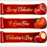 Vector os corações do fruto e as bandeiras horizontais das fitas vermelhas ajustados Fotografia de Stock