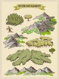 Vector os elementos do mapa, coloridos, tração da mão - floresta, árvore, madeira 1 ilustração do vetor
