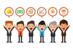 Vector os homens de negócio dos desenhos animados que falam sobre opções de investimento diferentes ilustração royalty free