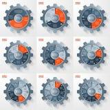 Vector os moldes infographic do círculo do estilo da engrenagem do negócio e da indústria ajustados Fotos de Stock