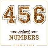 Vector os números animais para t-shirt, cartazes, cartão e outro usos Fotos de Stock Royalty Free