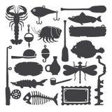 Vector os objetos & os artigos handdrawn monocromáticos do pescador ajustados ilustração do vetor