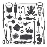 Vector os objetos & os artigos handdrawn monocromáticos do pescador ajustados ilustração royalty free