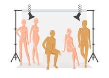 Vector os povos criativos do projeto de car?ter que levantam quando fot?grafo que toma fotos Equipamento da luz da foto no fotógr ilustração royalty free