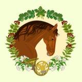 Vector oscuro del tema de la caza de la castaña del caballo Foto de archivo libre de regalías