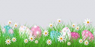 Vector Ostern-Hintergrund mit Eiern, Blumen, Gras Lizenzfreies Stockfoto