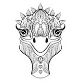 Vector ostrich for adult coloring page. Hand drawn funny ostrich royalty free illustration