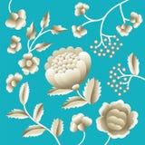 Vector Oud Oosters volksmotief van bloemen Mantonsjaal, het Spaanse ornament van het het flamenco decoratieve borduurwerk van Man Stock Afbeelding