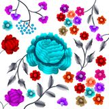 Vector Oud Oosters volksmotief van bloemen Mantonsjaal, het Spaanse ornament van het het flamenco decoratieve borduurwerk van Man Royalty-vrije Stock Afbeelding