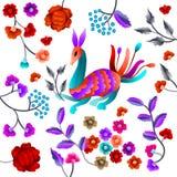 Vector Oud Oosters volksmotief van bloemen Mantonsjaal, het Spaanse ornament van het het flamenco decoratieve borduurwerk van Man Royalty-vrije Stock Foto