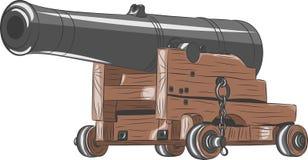 Vector oud schipkanon Royalty-vrije Stock Afbeeldingen