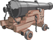 Vector oud schipkanon Stock Afbeeldingen