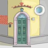 Vector Oude deur in het huis stock afbeelding