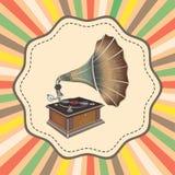 Vector oude maniergrammofoon op retro achtergrond Royalty-vrije Stock Fotografie
