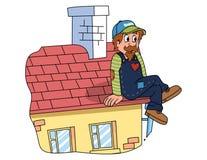 Vector - oude mensen die op housetop zitten vector illustratie