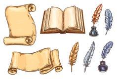 Vector oude uitstekende de boekenkantoorbehoeften van schetspictogrammen stock illustratie