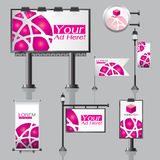 Vector Outdoor advertising design for company with color circles Elements of stationery printing media Light box banner Roll Up fl Royalty Free Stock Images
