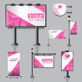 Vector Outdoor advertising design for company with color circles Elements of stationery printing media Light box banner Roll Up fl Stock Photography