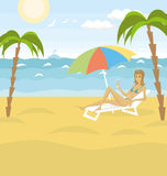 Vector Outdoors Cartoon Sea Landscape Stock Image