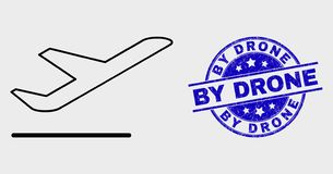 Vector Contour Airplane Departure Icon and Distress By Drone Stamp Seal. Vector outline airplane departure pictogram and By Drone seal. Blue round distress seal vector illustration