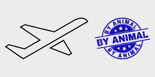 Vector Stroke Airplane Takeoff Icon and Scratched By Animal Stamp. Vector outline airplane takeoff icon and By Animal seal stamp. Blue round textured seal stamp royalty free illustration