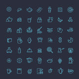 Vector outline breakfast icons Stock Images