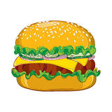 Vector outline cheeseburger with cheese, grilled beef, cucumber slice, lettuce salad, onion and sesame seed isolated on white. Stock Photography
