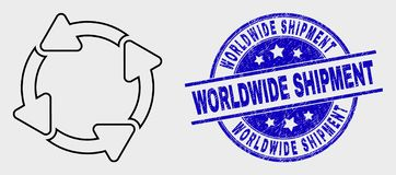 Vector Line Circulation Arrows Icon and Grunge Worldwide Shipment Seal. Vector outline circulation arrows pictogram and Worldwide Shipment seal stamp. Blue round vector illustration