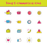 Vector outline colorful 16 e-commerce icons set in. Vector trendy outline colorful 16 e-commerce icons set in funny style. Online shop symbols collection Royalty Free Stock Photos