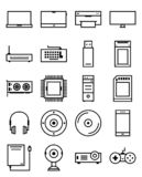 Vector outline computer device web icon set royalty free illustration