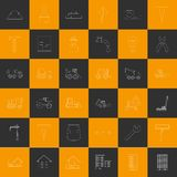 Vector outline construction orange and gray squares icons Stock Image