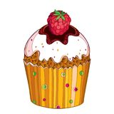 Vector outline cupcake with Raspberry red berry isolated on white background. Drawing of cake with raspberry fruit in contour. Stock Images