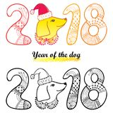 Vector outline dog head in Santa hat and number 2018 in black and yellow isolated on white background. Chinese New Year symbol. Vector outline dog head in Santa Stock Photo