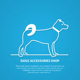 Vector outline dog silhouette on white background. Stock Photography