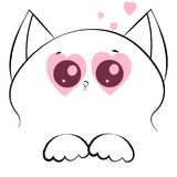 Vector outline drawing cat face with paws and pink hearts Royalty Free Stock Photography