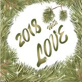 Cristmas love  fir tree frame 2018. Vector outline, drawing frame Christmas wreath from pine branches, Christmas trees and stars,  inscription `2018 with love Royalty Free Stock Photos