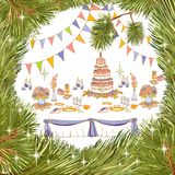 Serving a party New Year big cake. Vector outline in the form of a set for a festive table setting in a frame of Christmas tree branches of a coniferous Stock Images