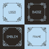 Vector outline frames and badges. Stock Image