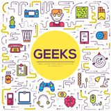 Vector outline it geeks people icons illustrations set. Flat thin line office professional developer around workplace. Technology royalty free illustration
